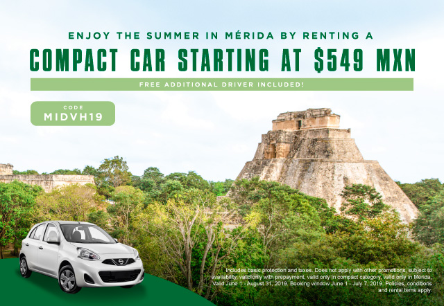 Enjoy the summer with a compact from $ 549 a day, includes taxes, basic protection and take an additional driver for free.